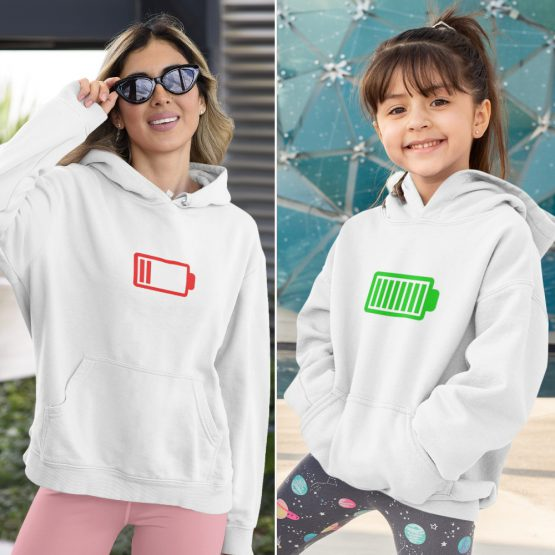 Moeder Dochter Hoodies Battery Low & Full