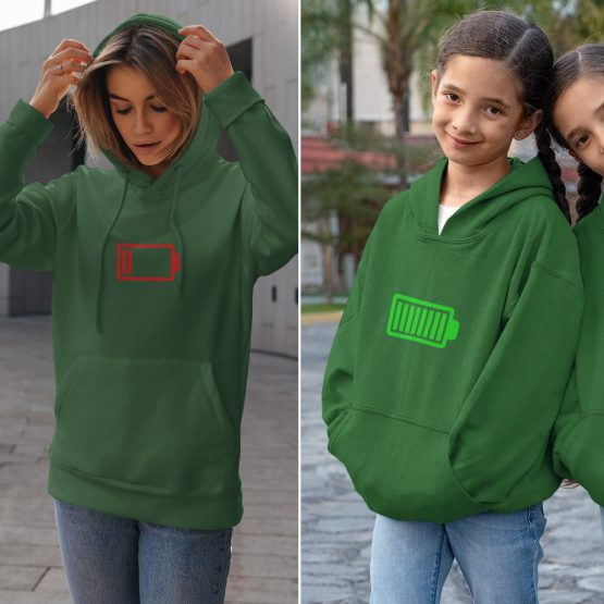 Moeder Dochter Hoodies Battery Low & Full Groen