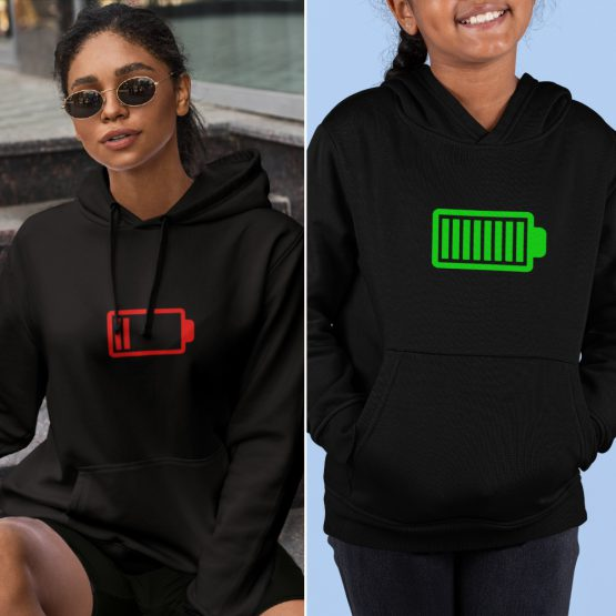 Moeder Dochter Hoodies Battery Low & Full Zwart