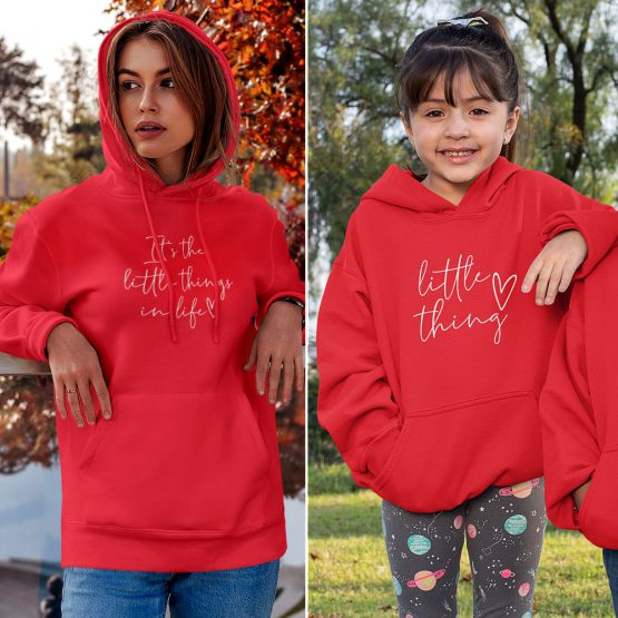 Moeder Dochter Hoodies It's The Little Things Rood 3