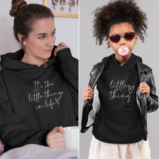 Moeder Dochter Hoodies It's The Little Things Zwart