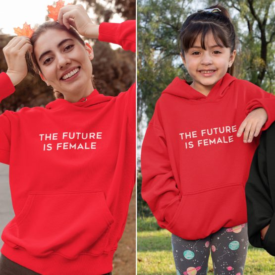 Moeder Dochter Hoodies The Future Is Female Rood