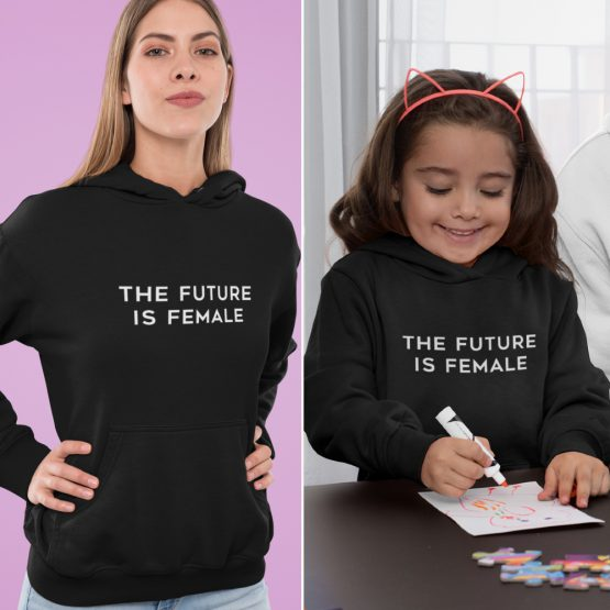 Moeder Dochter Hoodies The Future Is Female Zwart