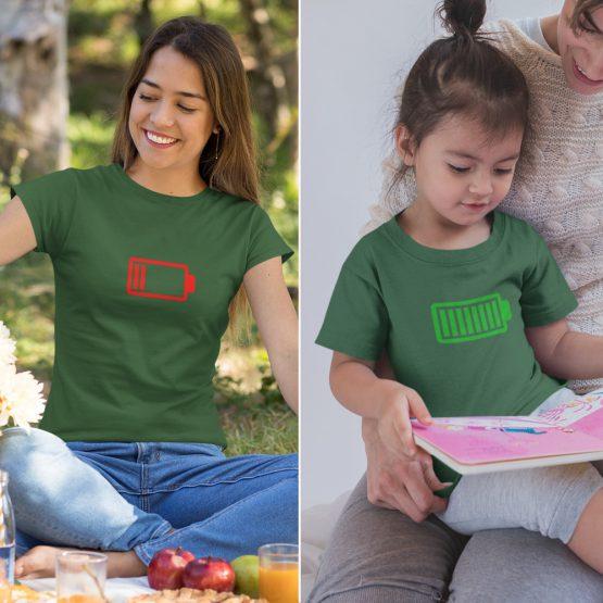 Moeder Dochter T-Shirts Battery Low & Full Groen