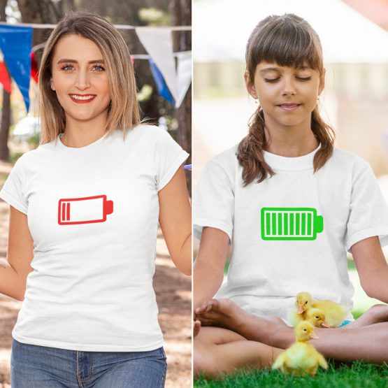 Moeder Dochter T-Shirts Battery Low & Full Wit