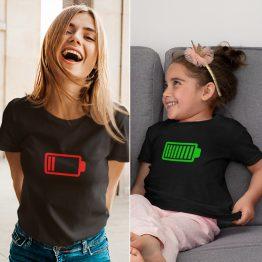 Moeder Dochter T-Shirts Battery Low & Full Zwart