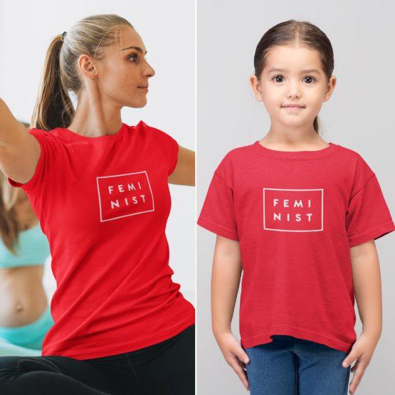 Moeder Dochter T-Shirts Feminist Rood