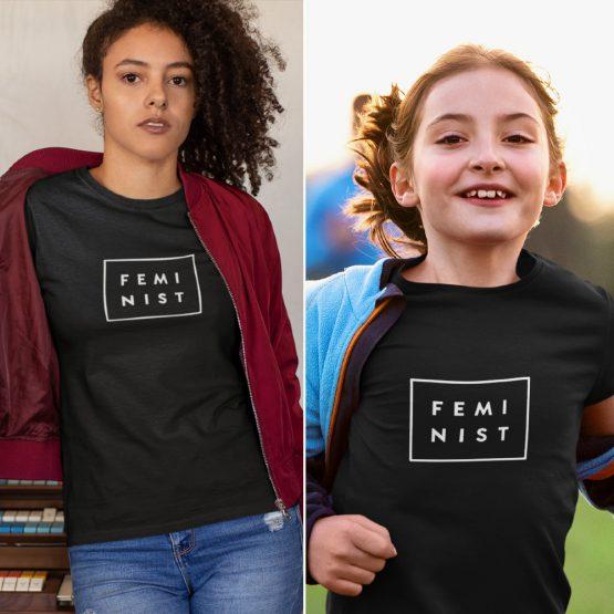 Moeder Dochter T-Shirts Feminist Zwart