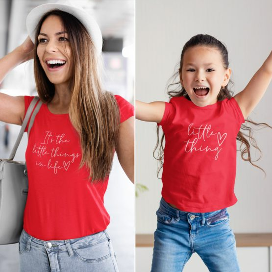 Moeder Dochter T-Shirts It's The Little Thing Rood