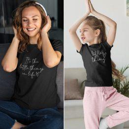 Moeder Dochter T-Shirts It's The Little Thing Zwart