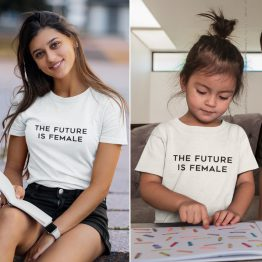 Moeder Dochter T-Shirts The Future Is Female Wit
