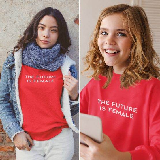 Moeder Dochter Truien The Future Is Female Rood