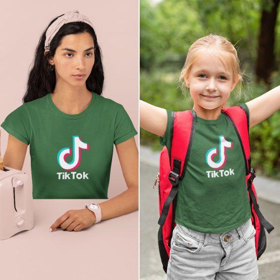 Moeder Dochter T-Shirts TikTok Groen