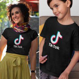 Moeder Dochter T-Shirts TikTok Zwart