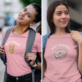 BFF T-shirts Koffie & Donut Roze