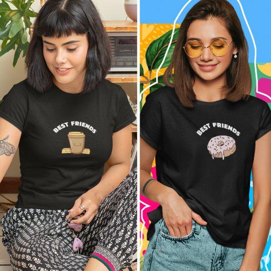 BFF T-shirts Koffie & Donut Zwart