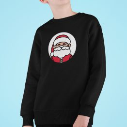 Kersttrui Kind Zwart Kerstman